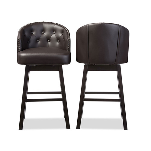 Baxton Studio Avril Modern and Contemporary Brown Faux Leather Tufted Swivel Barstool with Nail heads Trim (Set of 2)