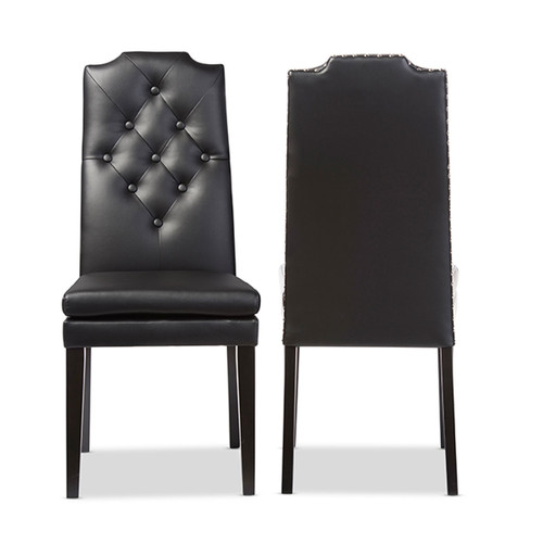 Baxton Studio Dylin Modern and Contemporary Black Faux Leather Button-Tufted Nail heads Trim Dining Chair (Set of 2)