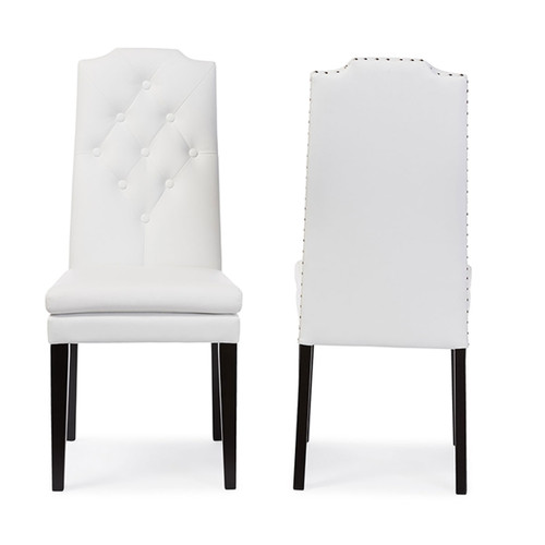 Baxton Studio Dylin Modern and Contemporary White Faux Leather Button-Tufted Nail heads Trim Dining Chair (Set of 2)