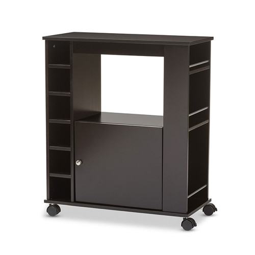Baxton Studio Ontario Modern and Contemporary Dark Brown Wood Modern Dry Bar and Wine Cabinet