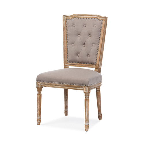 Baxton Studio Estelle Chic Rustic French Country Cottage Weathered Oak Beige Fabric Button-tufted Upholstered Dining Chair