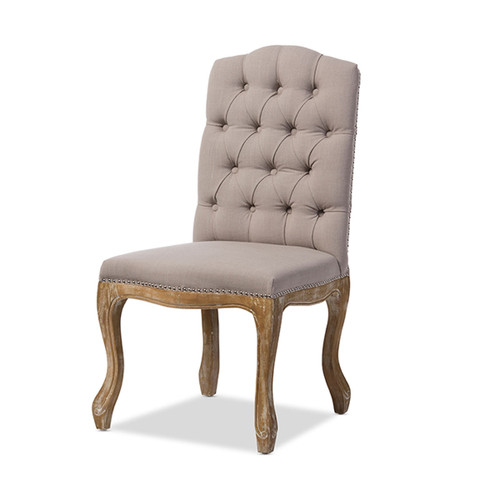 Baxton Studio Hudson Chic Rustic French Country Cottage Weathered Oak Beige Fabric Button-tufted Upholstered Dining Chair