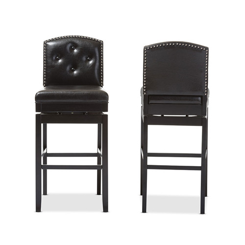 Baxton Studio Ginaro Modern and Contemporary Dark Brown Faux Leather Button-tufted Upholstered Swivel Bar Stool (Set of 2)