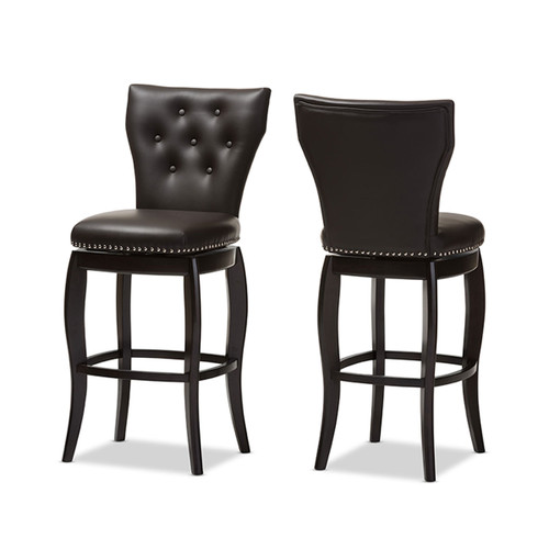 Baxton Studio Leonice Modern and Contemporary Dark Brown Faux Leather Upholstered Button-tufted 29-Inch Swivel Bar Stool (Set of 2)