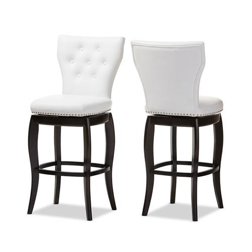 Baxton Studio Leonice Modern and Contemporary White Faux Leather Upholstered Button-tufted 29-Inch Swivel Bar Stool (Set of 2)