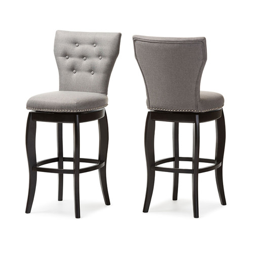 Baxton Studio Leonice Modern and Contemporary Grey Fabric Upholstered Button-tufted 29-Inch Swivel Bar Stool (Set of 2)