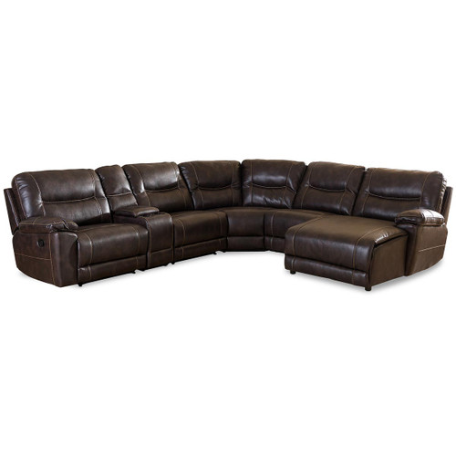 Baxton Studio Mistral Modern and Contemporary Dark Brown Bonded Leather 6-Piece Sectional with Recliners Corner Lounge Suite