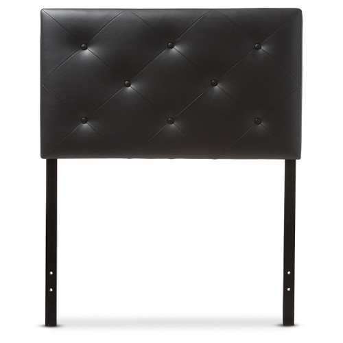 Baxton Studio Baltimore Modern and Contemporary Black Faux Leather Upholstered Twin Size Headboard