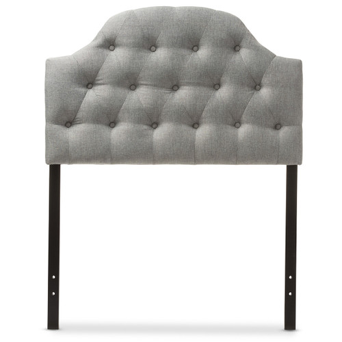 Baxton Studio Morris Modern and Contemporary Grey Fabric Upholstered Button-Tufted Scalloped Twin Size Headboard