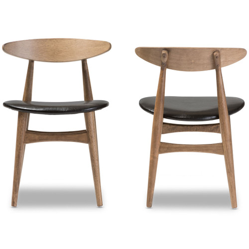 """Baxton Studio Edna Mid-Century Modern French Black Faux Leather and """"Oak"""" Light Brown Finishing Wood Dining Chair"""