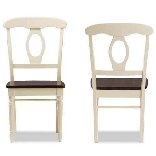 """Baxton Studio Napoleon French Country Cottage Buttermilk and """"Cherry"""" Brown Finishing Wood Dining Chair"""