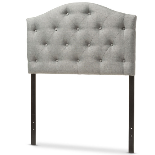 Baxton Studio Myra Modern and Contemporary Grey Fabric Upholstered Button-Tufted  Twin Size Headboard