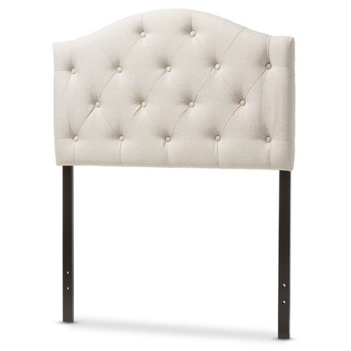 Baxton Studio Myra Modern and Contemporary Light Beige Fabric Upholstered Button-Tufted  Twin Size Headboard