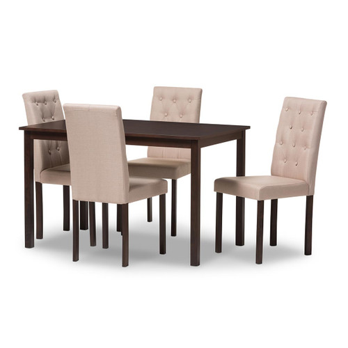 Baxton Studio Gardner Modern and Contemporary 5-Piece Dark Brown Finished Beige Fabric Upholstered Dining Set