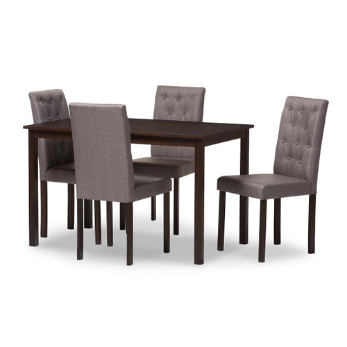 Baxton Studio Gardner Modern and Contemporary 5-Piece Dark Brown Finished Grey Fabric Upholstered Dining Set