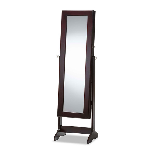 Baxton Studio Alena Brown Finishing Wood Free Standing Cheval Mirror Jewelry Armoire