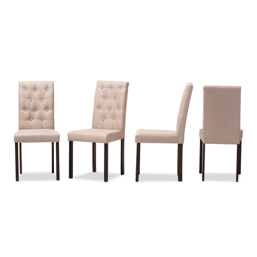 Baxton Studio Gardner Modern and Contemporary Dark Brown Finished Beige Fabric Upholstered Dining Chair (Set of 4)