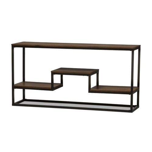 Baxton Studio Doreen Rustic Industrial Style Antique Black Textured Finished Metal Distressed Wood Console Table