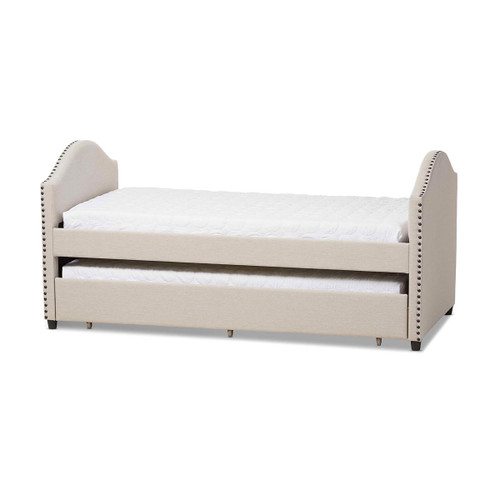 Baxton Studio Alessia Modern and Contemporary Beige Fabric Upholstered Daybed with Guest Trundle Bed