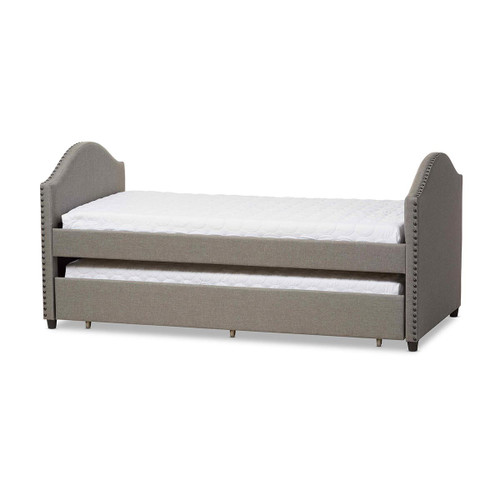 Baxton Studio Alessia Modern and Contemporary Grey Fabric Upholstered Daybed with Guest Trundle Bed