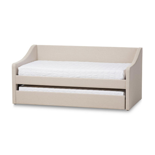 Baxton Studio Barnstorm Modern and Contemporary Beige Fabric Upholstered Daybed with Guest Trundle Bed