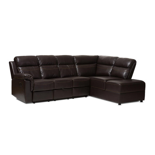 Baxton Studio Roland Modern and Contemporary Dark Brown Faux Leather 2-Piece Sectional with Recliner and Storage Chaise - Dark Brown