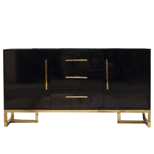 """Luxurious 59"""" Black Buffet Table 2 Doors & 3 Drawers Kitchen Storage Sideboard Cabinet - Black with Gold Accents"""