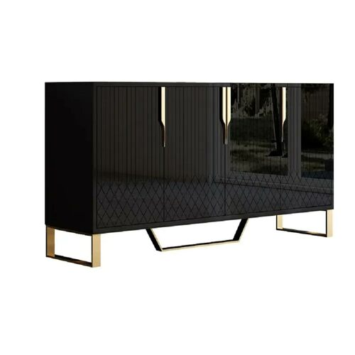 """Contemporary 60"""" Sideboard Buffet 4-Door  Buffet Table - Black with Gold Accents"""