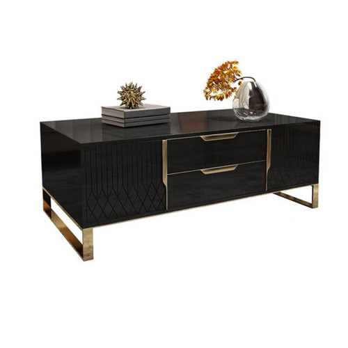 Modern Rectangular Coffee Table with Storage of Drawers & Doors - Black & Gold