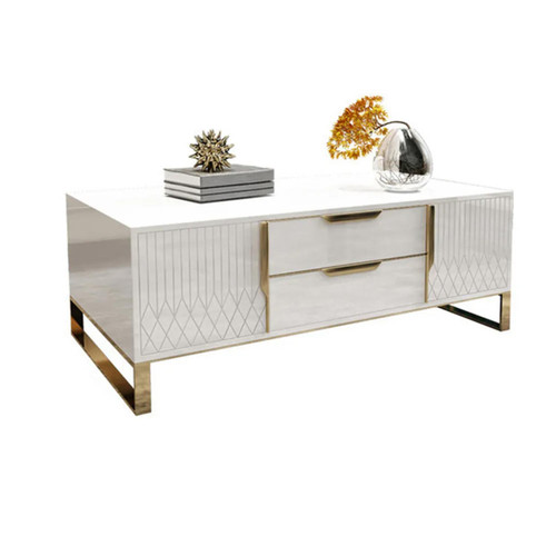 Modern Rectangular Coffee Table with Storage of Drawers & Doors - White & Gold