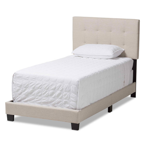 Baxton Studio Brookfield Modern and Contemporary Beige Fabric Twin Size Bed