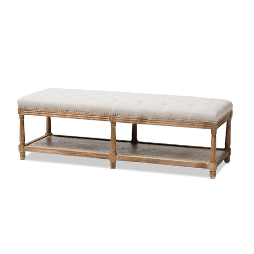 Baxton Studio Celeste French Country Weathered Oak Beige Linen Upholstered Ottoman Bench
