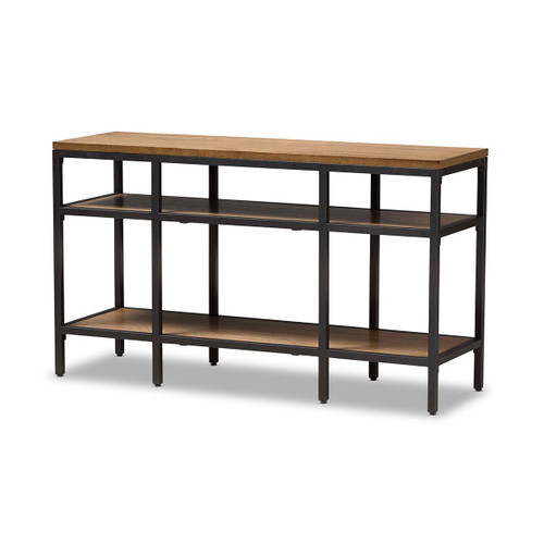 Baxton Studio Caribou Rustic Industrial Style Oak Brown Finished Wood and Black Finished Metal Console Table
