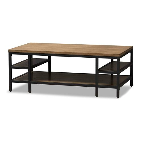 Baxton Studio Caribou Rustic Industrial Style Oak Brown Finished Wood and Black Finished Metal Coffee Table