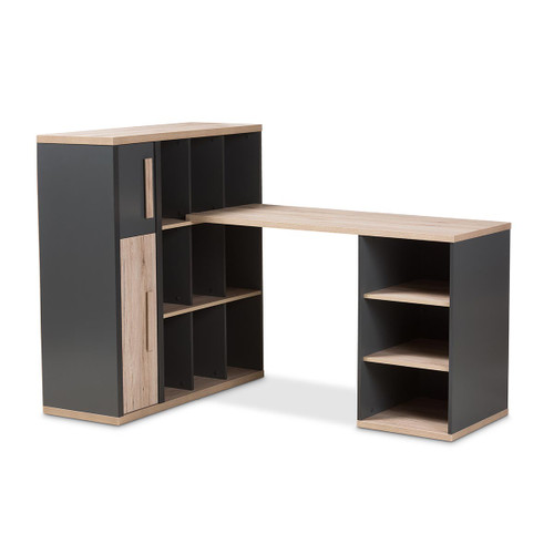 Baxton Studio Pandora Modern and Contemporary Dark Grey and Light Brown Two-Tone Study Desk with Built-in Shelving Unit