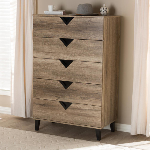 Baxton Studio Wales Modern and Contemporary Light Brown Wood 5-Drawer Chest