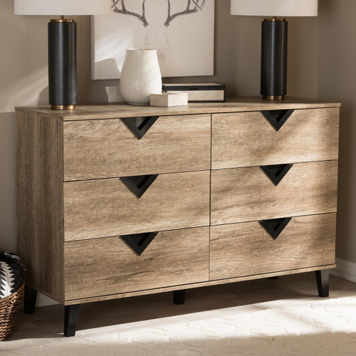 Baxton Studio Wales Modern and Contemporary Light Brown Wood 6-Drawer Chest