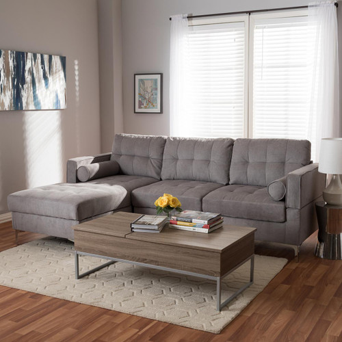 Baxton Studio Mireille Modern and Contemporary Light Grey Fabric Upholstered Sectional Sofa
