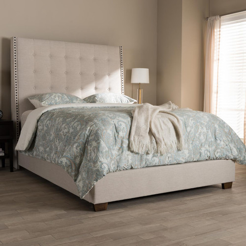 Baxton Studio Georgette Modern and Contemporary Light Beige Fabric Upholstered King Size Bed