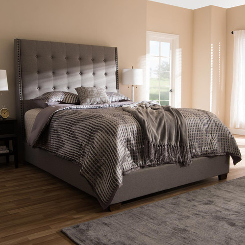 Baxton Studio Georgette Modern and Contemporary Light Grey Fabric Upholstered King Size Bed