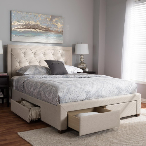 Baxton Studio Aurelie Modern and Contemporary Light Beige Fabric Upholstered King Size Storage Bed