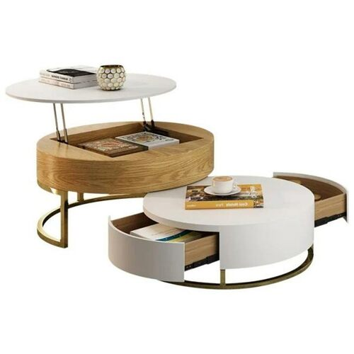 Modern Round Lift-Top Wood Nesting Coffee Table with Rotatable Drawers in White & Natural Wood