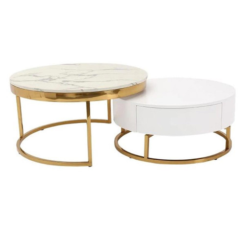 Modern Round Stone Nesting Coffee Table with 2 Drawers - White & Marble
