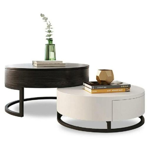 Modern Round Lift-Top Wood Nesting Coffee Table with Rotatable Drawers in Black & White