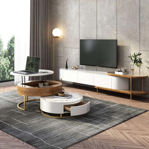Modern Round Lift-Top Wood Nesting Coffee Table with Rotatable Drawers Wood with White Top