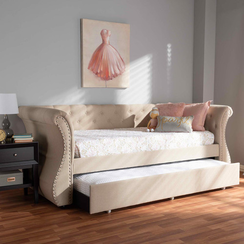 Baxton Studio Cherine Classic and Contemporary Beige Fabric Upholstered Daybed with Trundle