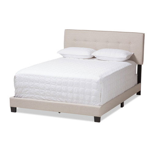 Baxton Studio Audrey Modern and Contemporary Light Beige Fabric Upholstered Queen Size Bed