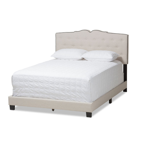 Baxton Studio Vivienne Modern and Contemporary Light Beige Fabric Upholstered King Size Bed