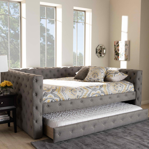 Baxton Studio Anabella Modern and Contemporary Grey Fabric Upholstered Queen Size Daybed with Trundle