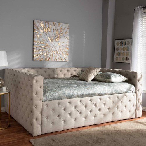Baxton Studio Anabella Modern and Contemporary Light Beige Fabric Upholstered Queen Size Daybed
